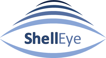 The ShellEye project logo with thin curved lines representing satellite waves above an eye shape