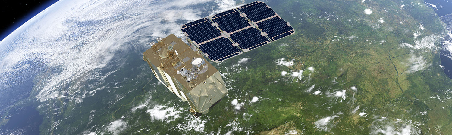 Sentinel satellite orbiting the earth in space
