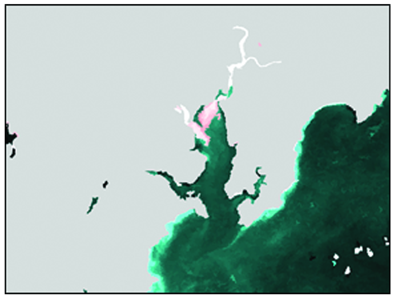 River plume extent determined using Landsat 8 data and image classification techniques. Mapped plume extent in red